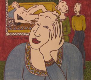 At The Gallery by Bea Garth pen and ink