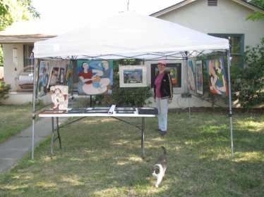 Practice set up of booth for the Solstice Art Fair with Keiko June 2015.