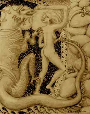 """""""Dragon's Lair"""" pencil and ink sepia by Bea Garth, copyright 2000"""