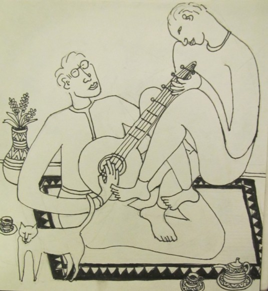 Music Genie pen and ink 2013