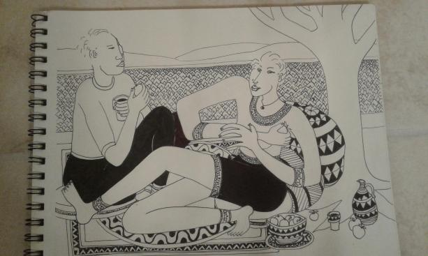 picnic-along-the-columbia-pen-and-ink