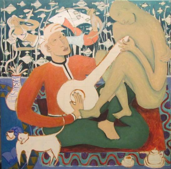 """Music Genie"" painting in progress, by Bea Garth copyright 2015/16"