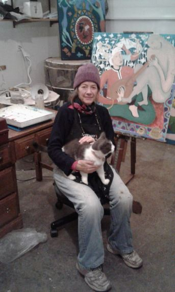 """Bea in newly created art studio with her cat"" photo by Graeme Jones, copyright 2016"