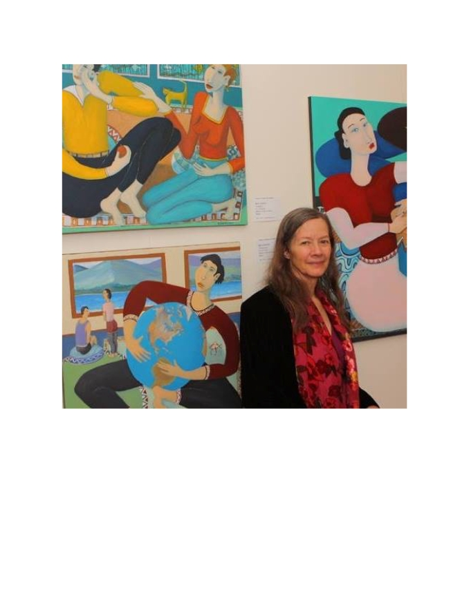Bea Garth in front of some of her paintings at New Beginnings exhibit 2015, photo by Things Matter