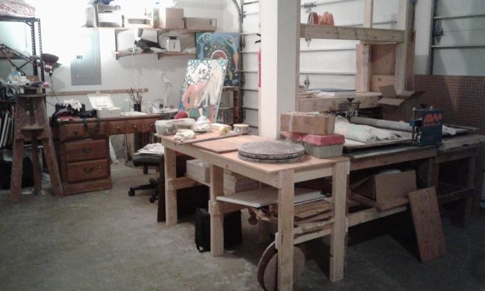 Corner view of Bea Garth's New Vancouver Art Studio
