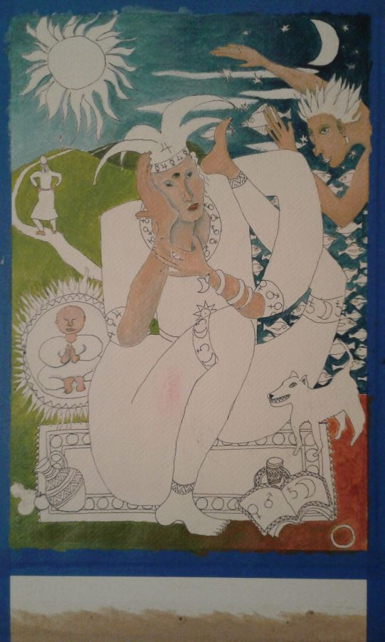 """Fool"" tarot card in progress w background colors by Bea Garth, copyright 2016"
