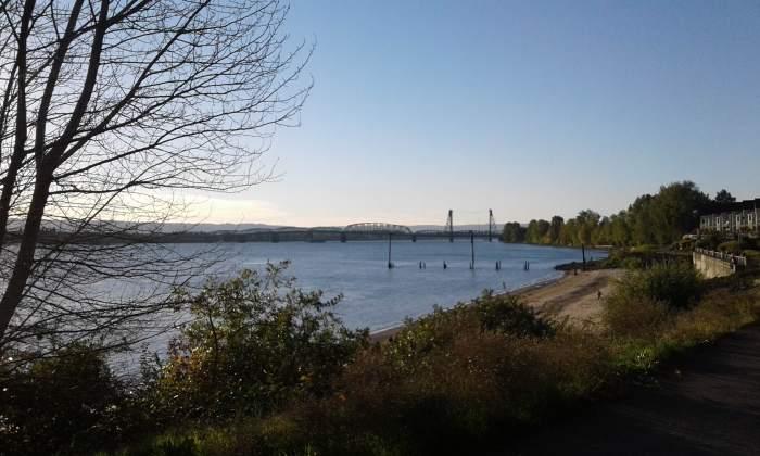 """Looking back"" walkway, river and bridge Vancouver, WA photo by Bea Garth copyright 2016"