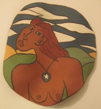 Goddess with Star by Bea Garth, ceramic plaque copyright 2007