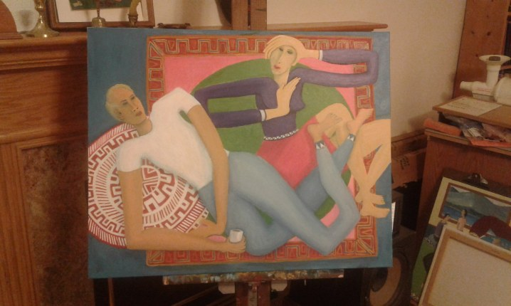 """The Dilemma of Venus"" painting in progress by Bea Garth, copyright 2016"