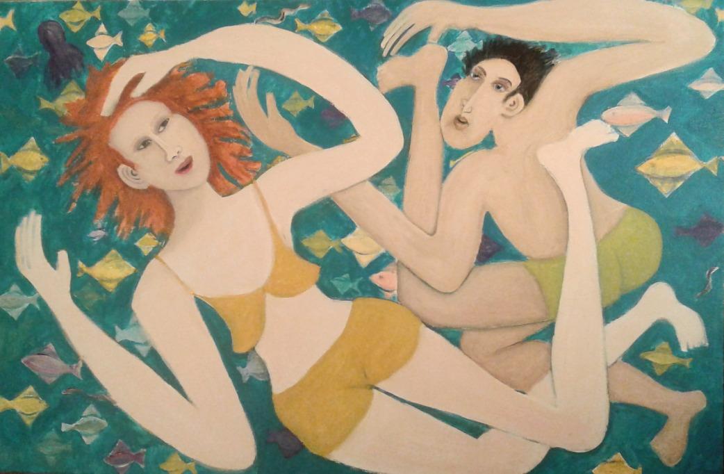 """ Underwater Dance"" acrylic painting in progress by Bea Garth 2017"