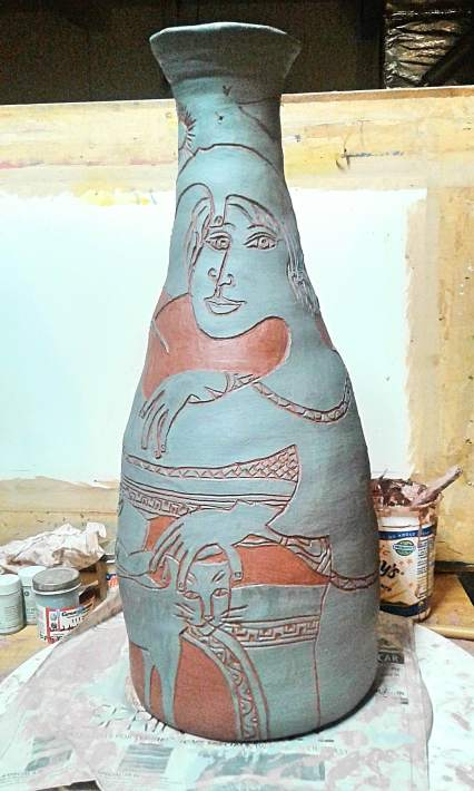 """Petting The Cat"" vase in progress by Bea Garth, copyright 2017"