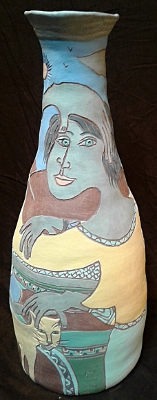 """Petting the Cat,"" ceramic vase by Bea Garth, copyright 2017"