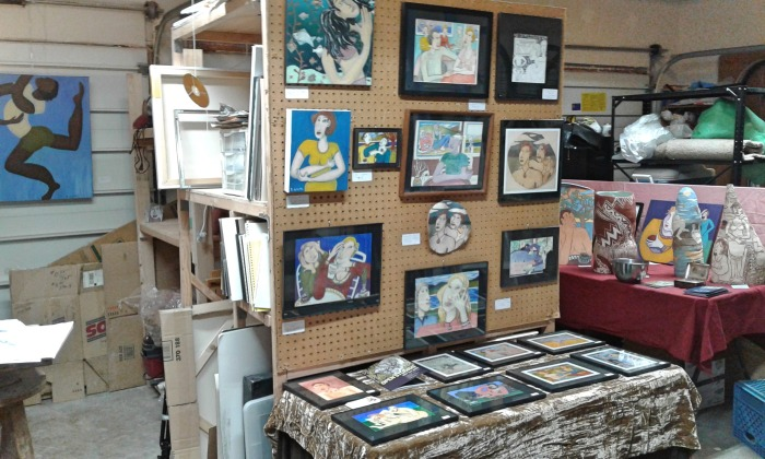 Bea Garth's painting storage with display plus painting and sculpture OS, photo by Bea Garth copyright 2017