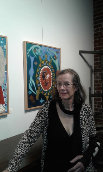 "Bea Garth by her painting ""Turtles Complaint to Gaia"" copyright 2015 at the Gallery at Cerulean feb 2018"