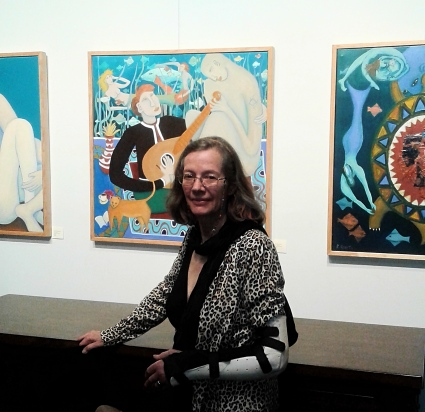 "Bea Garth in front of her new painting ""The Music Genie"" at the Art Gallery At The Cerulean, Portland Oregon"