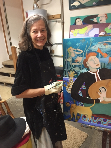 "Bea Garth painting ""The Music Genie"" in her art studio getting ready for exhibit; photo by Chris Arcus, copyright 2018"