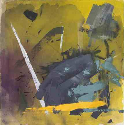 """Crane"" by Jordan Clark, copyright 2017 flashe, acrylic, ink, dye on canvas"