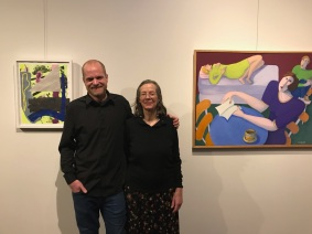 Jordan Clark and Bea Garth in front of 2 of their paintings at Cerulean Feb. 2018