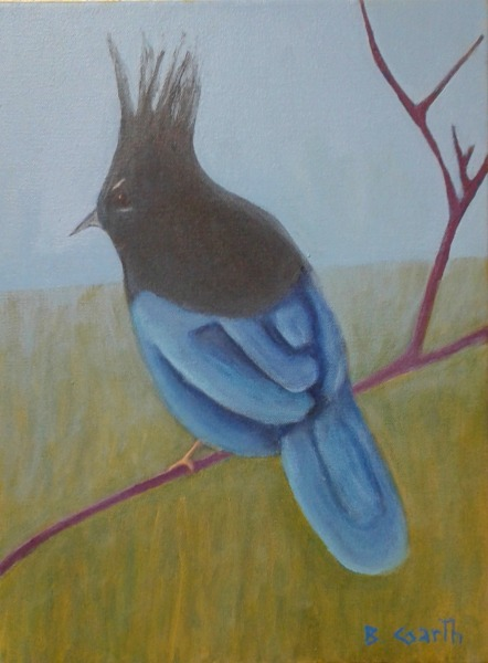"""Stellar Jay in Mist"" acrylic on canvas by Bea Garth, copyright 2018"